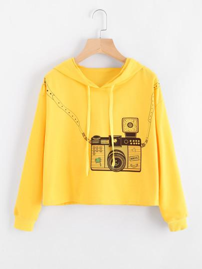 3D camera style fashion crop sweater - Iconic Trendz Boutique (1462537289771)