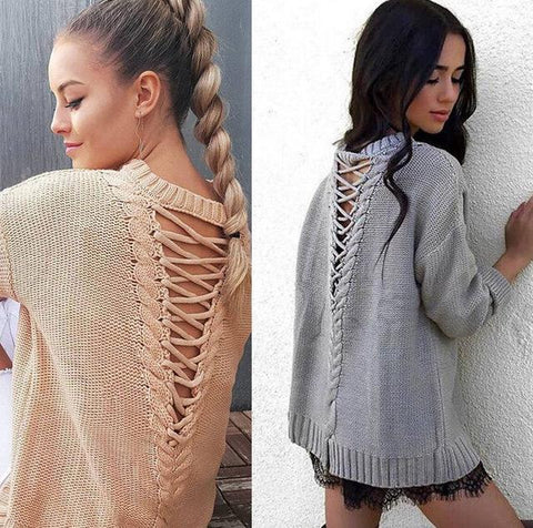 Lace up back knitted sweater top - Iconic Trendz Boutique (1462536470571)