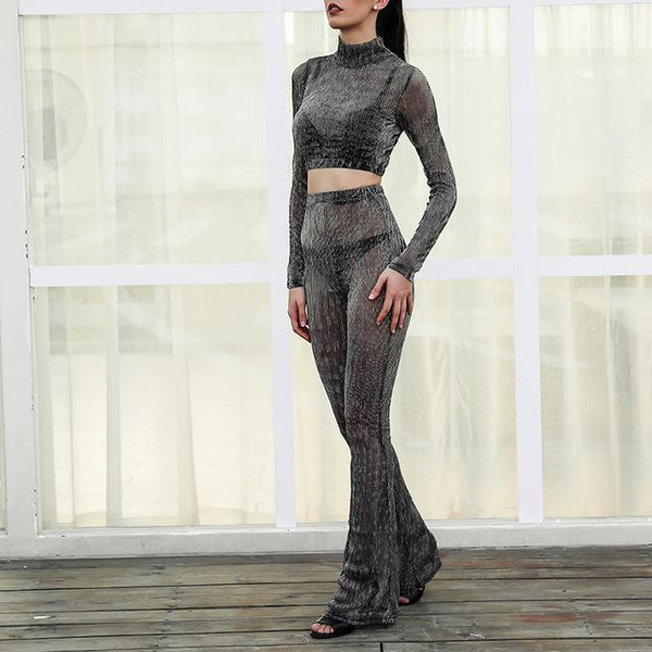 """Lost"" sheer 2 piece crop top pants set - Iconic Trendz Boutique (1462536929323)"