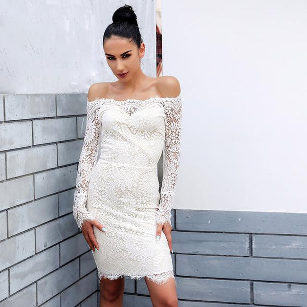 all lace off the shoulder bodycon dress - Iconic Trendz Boutique (1462536241195)