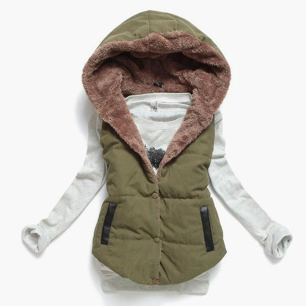 Long sleeve top with 2 in 1 Puffer Warm Vest Coat hoodie (1462535258155)