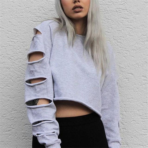 Ladies oversize distressed cut sleeve crop sweatshirt (1462535127083)