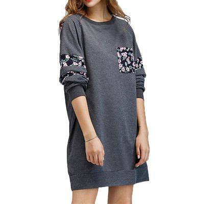 Floral oversize tshirt sweater dress - Iconic Trendz Boutique (1462534209579)