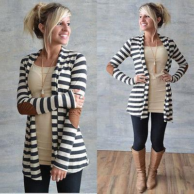 Ladies stripe patch elbow open cardigan sweater (1462534144043)