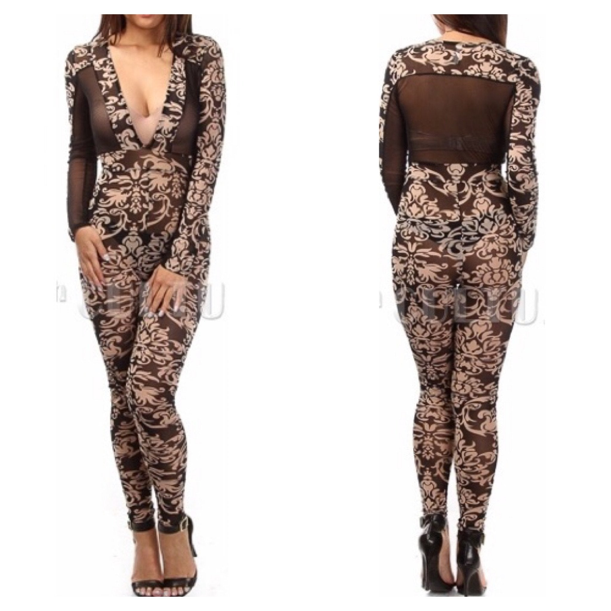 """Fantasy"" floral sheer bodycon jumpsuit - Iconic Trendz Boutique (1462578217003)"