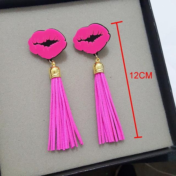 """Popping"" Sexy lips fringe tassel earring - Iconic Trendz Boutique (1462577758251)"