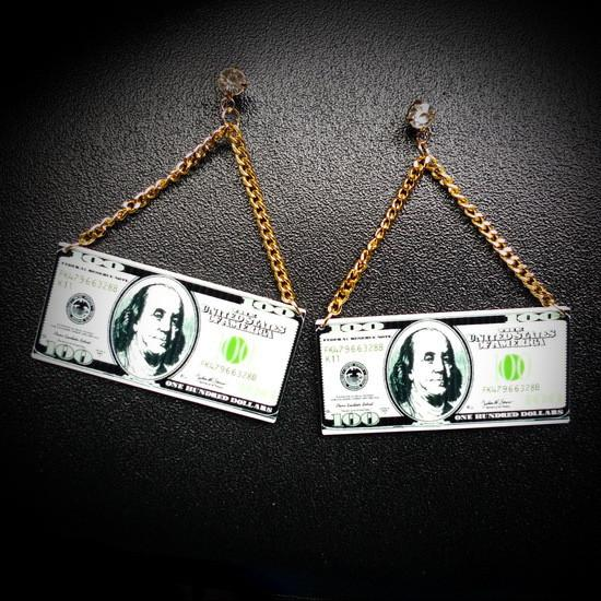 Dollar Dollar Bills dangle earrings - Iconic Trendz Boutique (1462577496107)