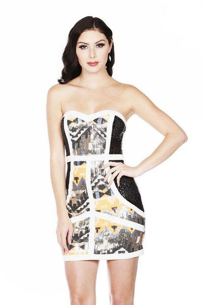 """Talk of the Town"" tribal sequined bodycon dress - Iconic Trendz Boutique (1462582149163)"