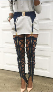 """danger zone"" hollow out zipper harness leggings pants - Iconic Trendz Boutique (1462570811435)"
