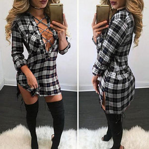 Ladies plaid lace up fashion shirt - Iconic Trendz Boutique (1462560849963)