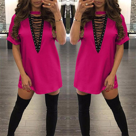 "pink "" New York Minute"" lace up tshirt dress - Iconic Trendz Boutique (1462578708523)"