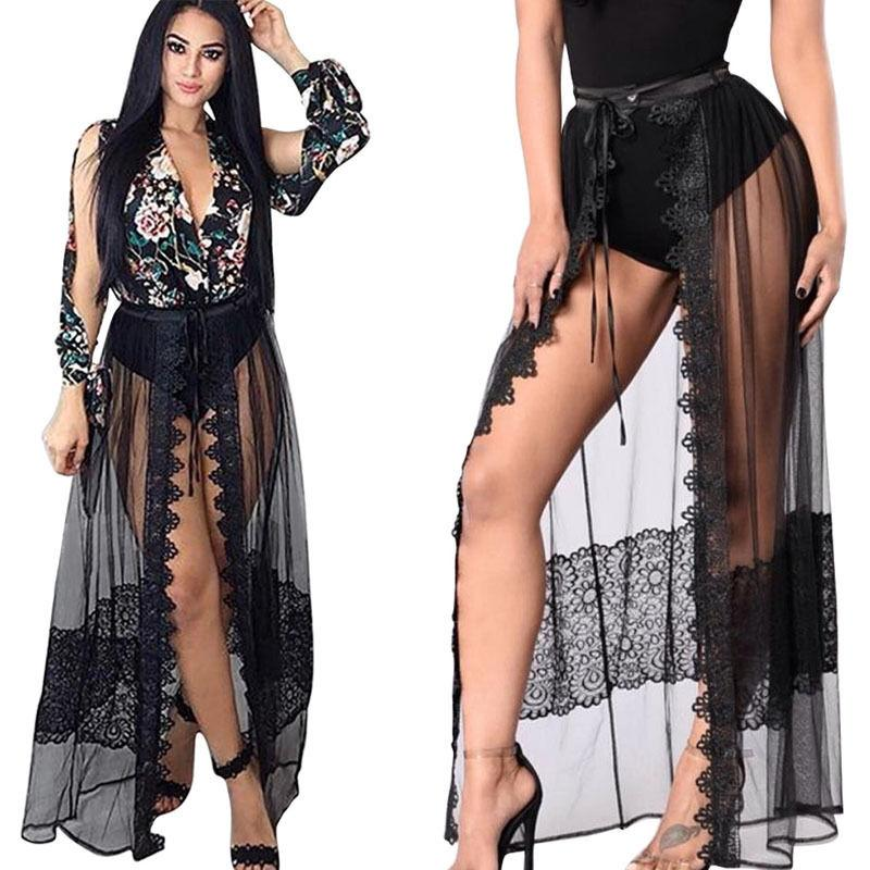 """cameo"" sheer lace detail open front maxi tie skirt - Iconic Trendz Boutique (1462562258987)"