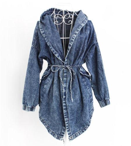 """Slay"" Denim oversize hooded jacket - Iconic Trendz Boutique (1462582902827)"