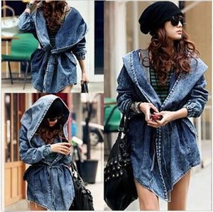 """Slay"" Denim oversize hooded jacket - Iconic Trendz Boutique"