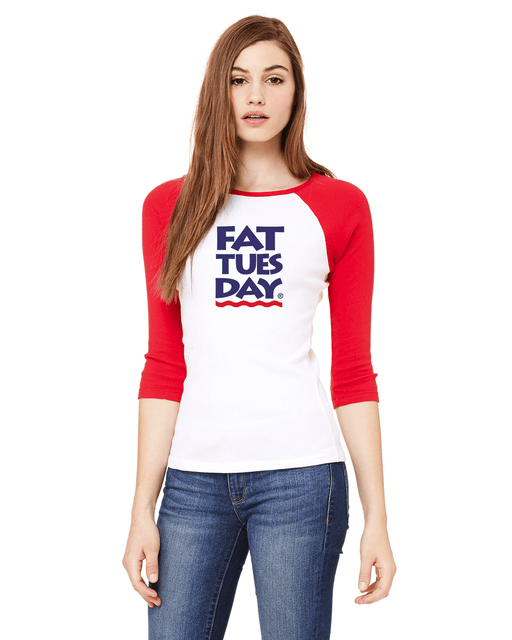 Fat Tuesday Ladies Baseball Tee