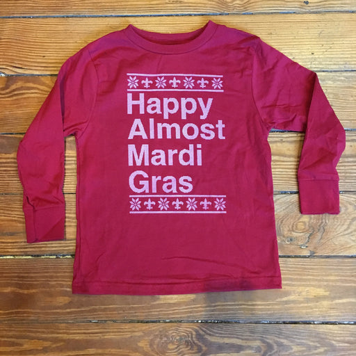 Dirty Coast Press Kid Shirt Happy Almost Mardi Gras Kids (Red)
