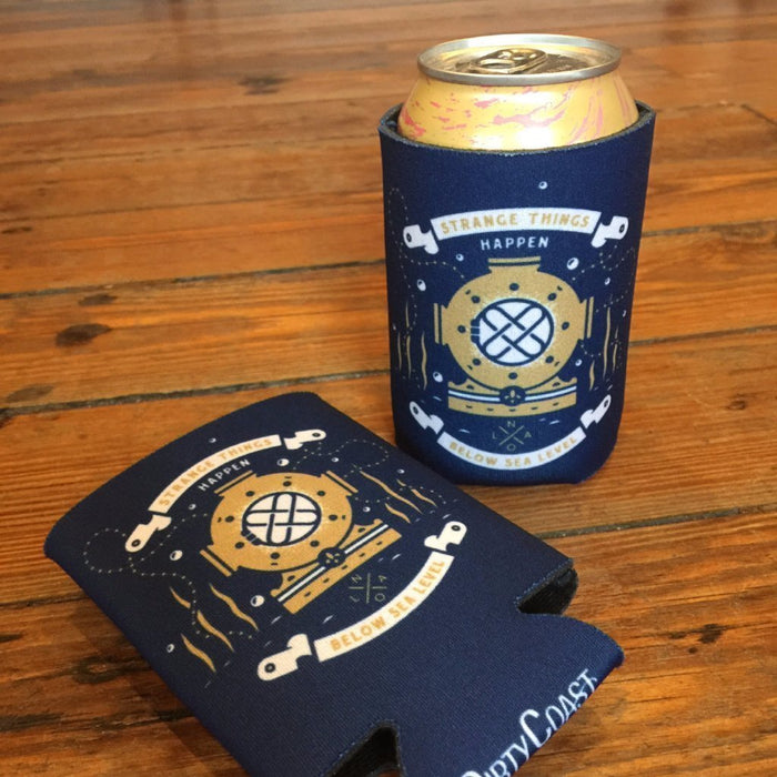 Dirty Coast Press Koozie Strange Things Happen Below Sea Level Koozies