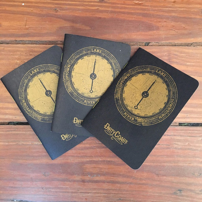 Dirty Coast Press Pocket Journal Black & Gold - 3 Pack River. Lake. Uptown. Downtown. Pocket Journal
