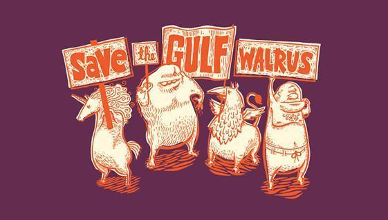 Dirty Coast Press Shirt Save the Gulf Walrus