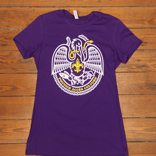 Dirty Coast Press Shirt Small (men) Acadiana Self-Reliance in Purple & Gold