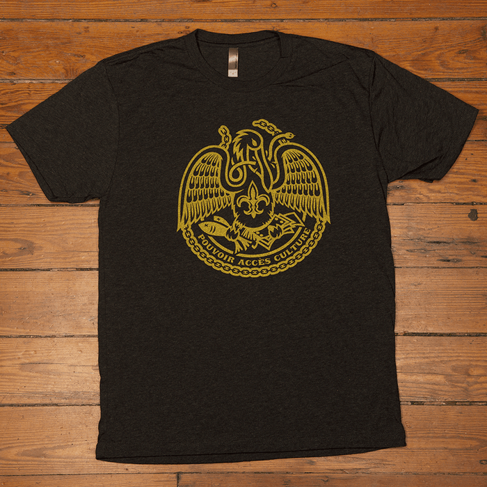 Dirty Coast Press Shirt Unisex Small Acadiana Self-Reliance Black & Gold