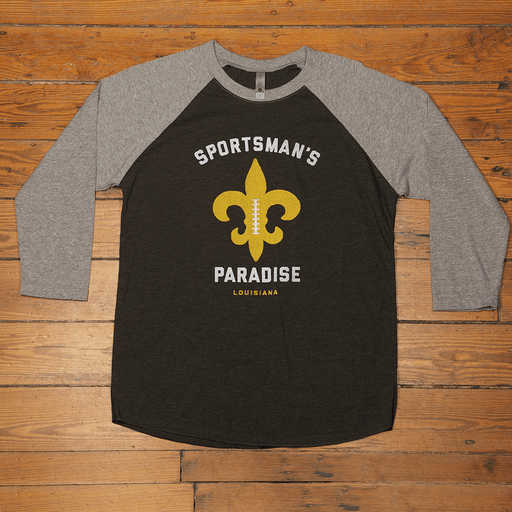 Dirty Coast Press Shirt Unisex Small Sportsman's Paradise 3/4-Sleeve Baseball Shirt