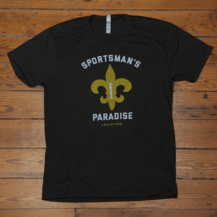 Dirty Coast Press Shirt Unisex Small Sportsman's Paradise Black and Gold