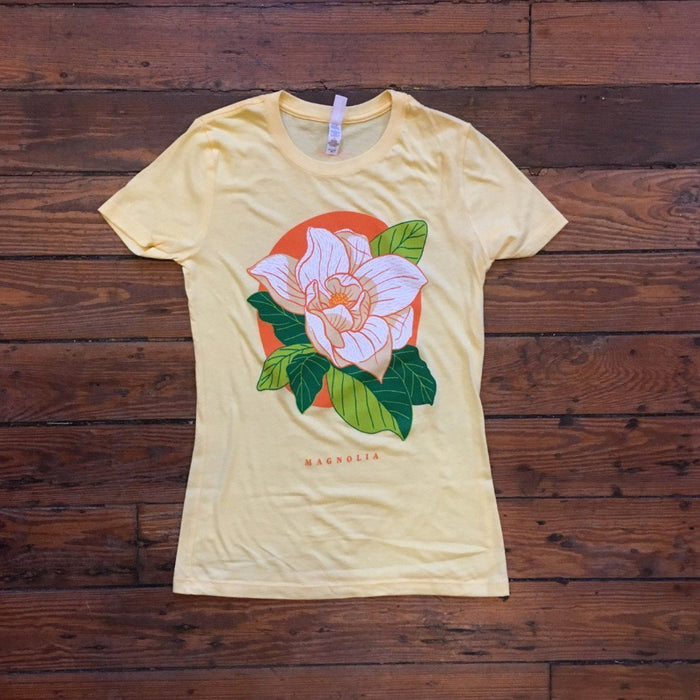 Dirty Coast Press Shirt Women's Small Love, Louisiana Series - Magnolia Bloom