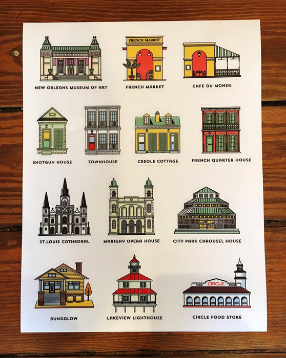 Dirty Coast Press Stickers Nola Architecture Sticker Sheet