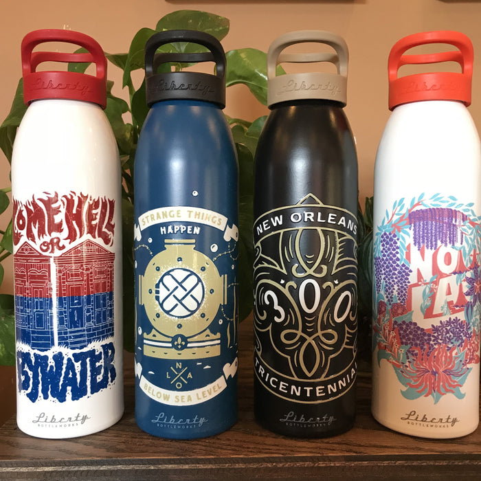 Dirty Coast Press Water Bottle Come Hell Or Bywater - Liberty Bottle