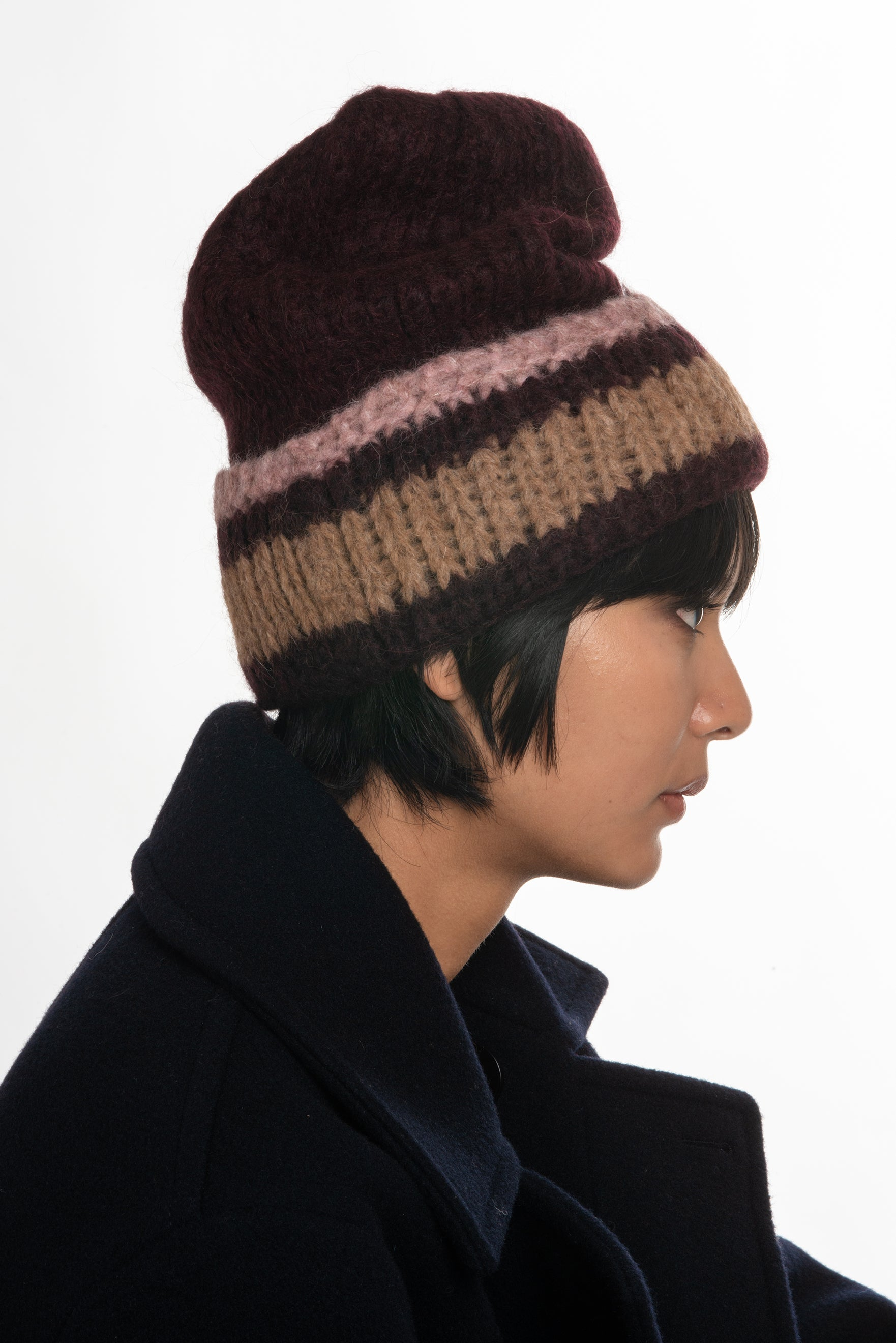 Superba Beanie in Vino with Stripe