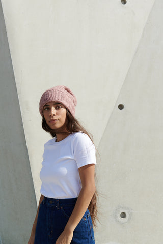 Superba Beanie in Malibu Rose with Stripe