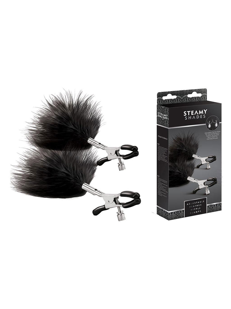 Steamy Shades Adjustable Feather Nipple Clamps - Adult Toys