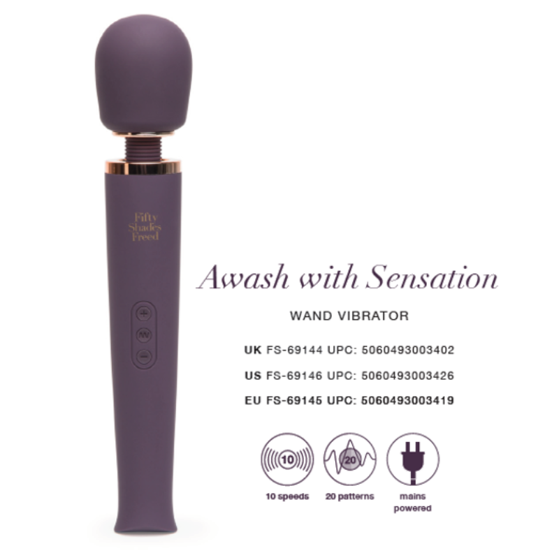 Fifty Shades Freed Awash With Sensation Wand Massager/Vibrator - Adult Toys