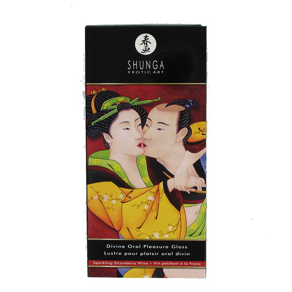Shunga Divine Oral Pleasure Lip Gloss Sparkling Strawberry Wine - Sex Toys Adult