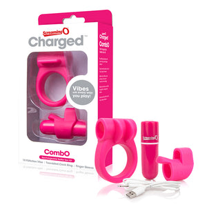 The Screaming O Charged CombO Kit | Rechargeable Vibrating Ring and Finger Vibe - Sex Toys