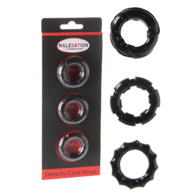 Malesation Stretchy Cock Ring Set - Adult Toys