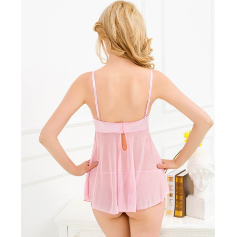 Baby Pink Wired Babydoll with Silk and Mesh XS/S (28/30/32) - Sex Toys