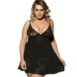 Black Soft Lace Babydoll With G-String - Sex Toys
