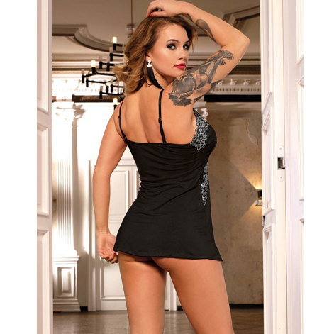 Comfortable Black with White Lace Babydoll Sleepwear  - Sex Toys