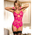 Bright Pink Lace Set With Attached Garters, Thong & Hand-piece L/XL (36/38) - Sex Toys