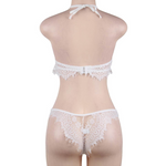 High Neck White Eyelash Lace Bra Set XS/S/M - Sex Toys