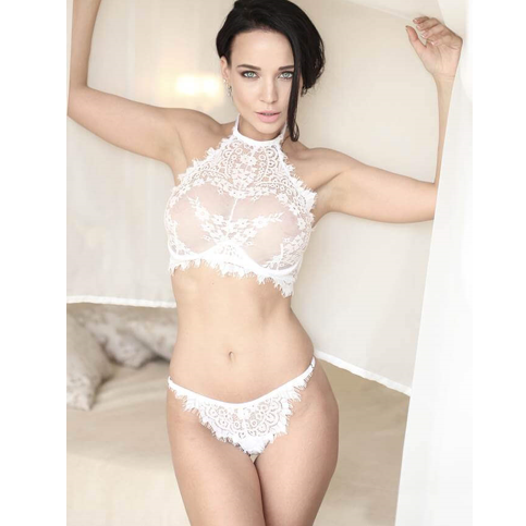 High Neck White Eyelash Lace Bra Set XS/S/M (28/30/32/34)