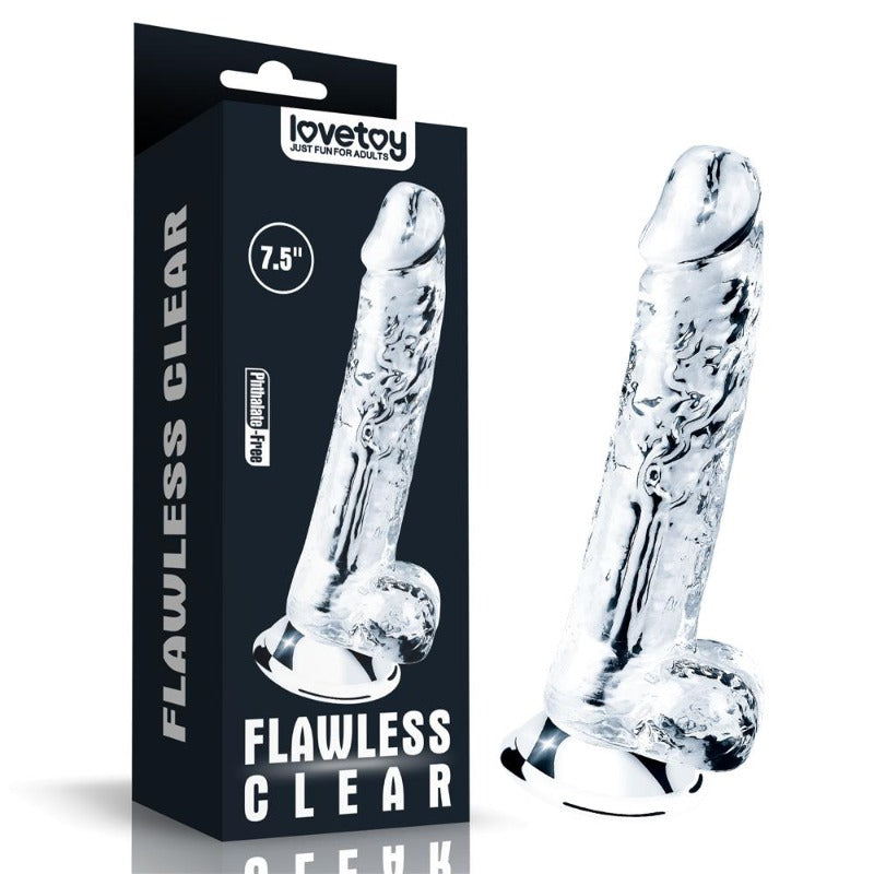 "LoveToy FLAWLESS Clear 7.5"" Dildo"
