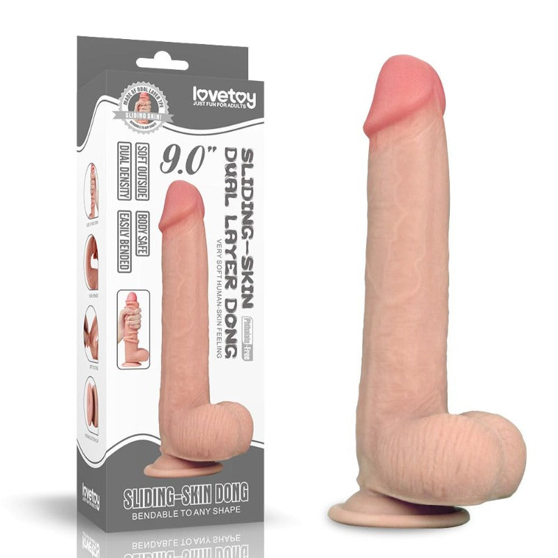 "LoveToy 9"" Dual Layered Sliding Skin Dildo"