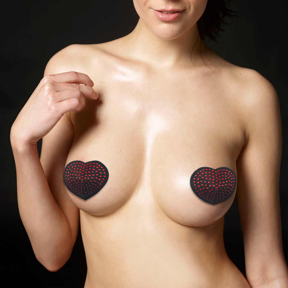 LoveToy Reusable Red Diamond Heart Nipple Pasties - Sex Toys