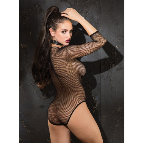 Shirley of Hollywood USA | Fishnet Long Sleeve Teddy With PVC Deep V Neck - Sex Toys