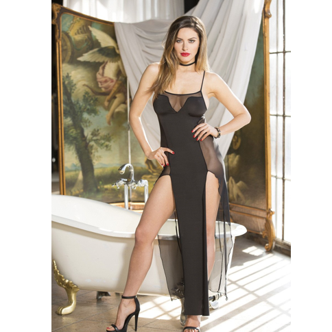 Shirley of Hollywood USA | Sheer & Solid Knit Long Gown ONE SIZE FITS MOST  (M/L/XL) - Sex Toys