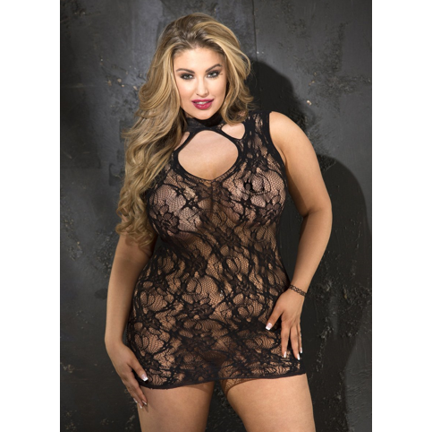 Shirley of Hollywood USA | Stretch Lace Chemise With Lace Neckband PLUS SIZE