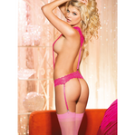 Shirley of Hollywood USA | Stretch Lace Suspender Teddy ONE SIZE FITS MOST (M/L/XL/2XL) - Sex Toys